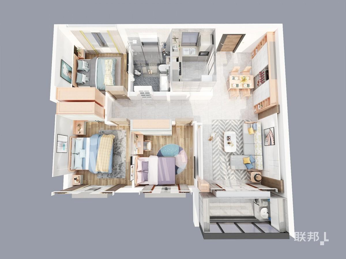 青特小镇三房两厅弧格尔系列_俯视图2